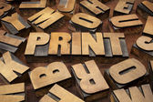 Print concept in wood type — Stock Photo