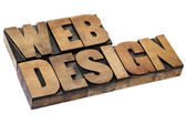 Web design in wood type — Stock Photo