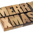 Merry Christmas in wood type — Stock Photo #13537466