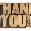 Thank you in letterpress wood type — Stock Photo #13537843