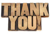 Thank you in letterpress wood type — Stock Photo