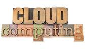 Cloud computing w drewno typu — Zdjęcie stockowe