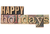 Happy holidays in wood type — Foto Stock