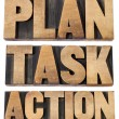 Plan, task, action word in woot type — Stock Photo