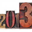 Year 2013 in wood type — Stock Photo