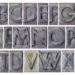 Alphabet in grunge metal type — Stock Photo