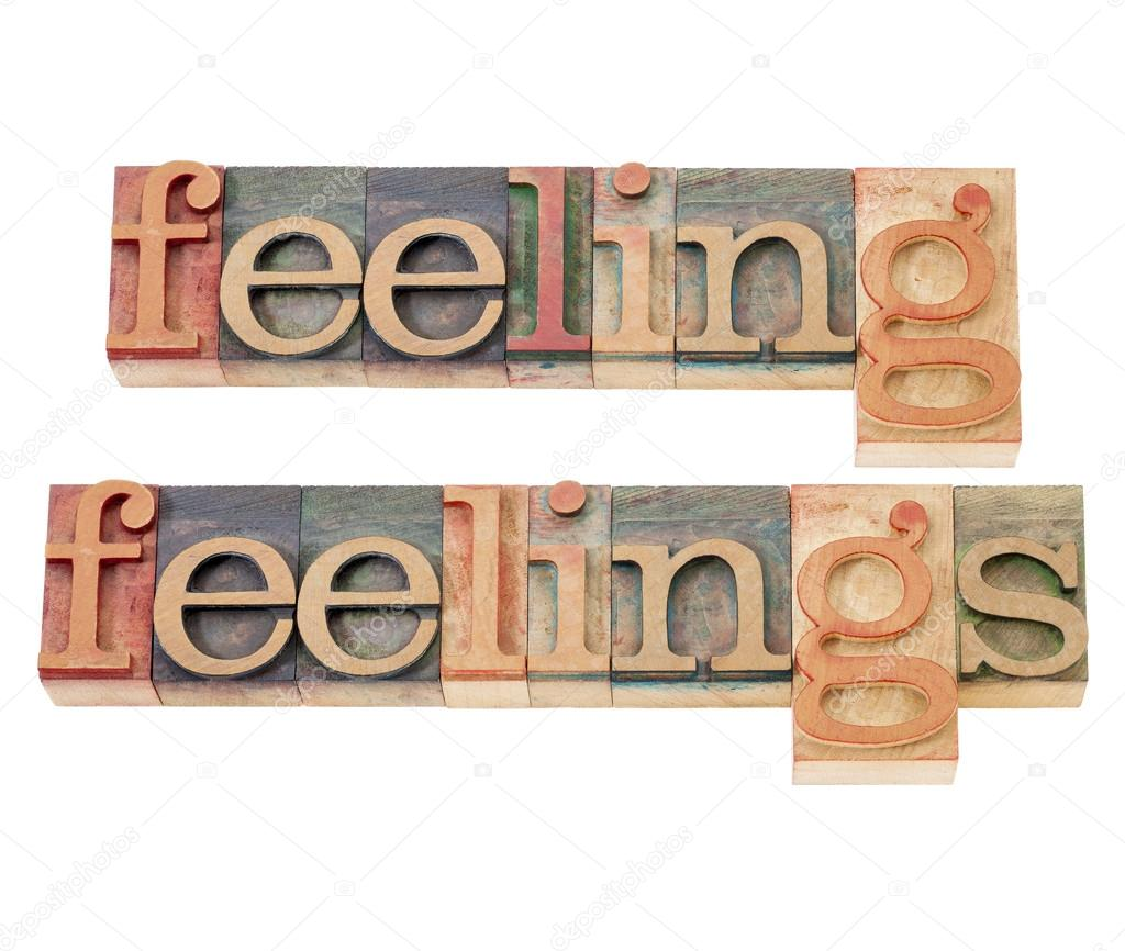 Feeling and feelings words - isolated text  in vintage letterpress wood type — Stock Photo #14167556