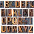 Alphabet in antique wood type - Foto Stock