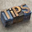 Tips word in wood type - Foto de Stock