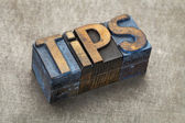 Tips word in wood type — Stock Photo