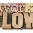 Stock Photo: Workflow word in wood type