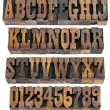 Vintage letters and numbers - Stock Photo