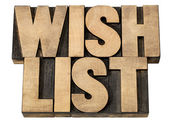 Wish list in wood type — Stock Photo