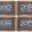 Incoming years on blackboard — Stock Photo
