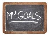 Mina mål på blackboard — Stockfoto