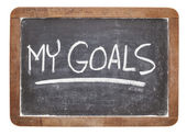 My goals on blackboard — Foto de Stock