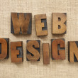 Foto Stock: Web design in wood type blocks
