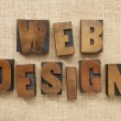 Web design in wood type blocks — Stockfoto