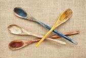 Rustik tahta kaşıklar — Stok fotoğraf