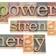 Stock Photo: Power, strength, energy words
