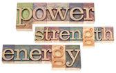 Power, strength, energy words — Stock Photo