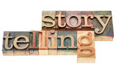 Storytelling word in wood type — Stock Photo