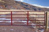 Closed ranch gate — Stock Photo