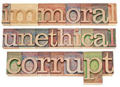 Immoral, unethical, corrupt — Stock Photo