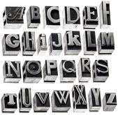 Alphabet in vintage metal type — Stock Photo