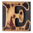 Stock Photo: Letter E wood type block