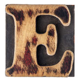 Letter E wood type block — Stock Photo