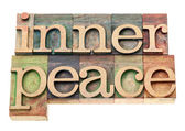 Inner peace in wood type — Stock Photo