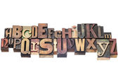Alphabet in wood type — Stock Photo