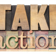 Take action in wood type — Foto Stock