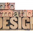 Information design in wood type — Stock Photo