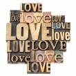 Stock Photo: Love word in wood type