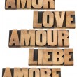 Love word in 5 languages — Stock Photo #19252267