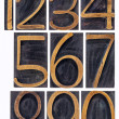 Wood type numbers isolated — Stock Photo