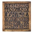 Wood type numbers in box — Stock Photo