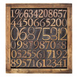 Stock Photo: Wood type numbers in box