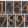 Isolated numbers in wood type - Stock Photo