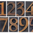 Isolated numbers in wood type — Stock Photo #20333973