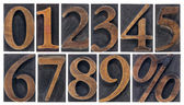 Isolated numbers in wood type — 图库照片