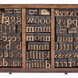 Wood type in typesetter box — Stock Photo