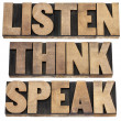 Stock Photo: Listen, think, speak advice