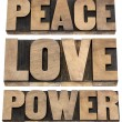Peace, love, power words — Stock Photo