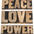 Stock Photo: Peace, love, power words