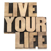 Live your life in wood type — Stock Photo
