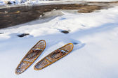 Classic Bear Paw snowshoes — Stock Photo