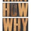 Questions in wood type - Stockfoto